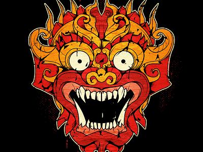 Barong mask indonesia bali vector illustration mask barong
