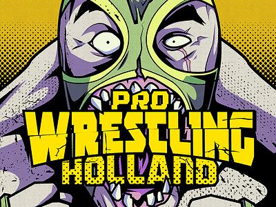 Pro wrestling holland illustration prowrestling mask wrestling lucha illustration