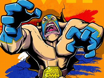 Big Lucha adobe vector mask illustration lucha wrestling