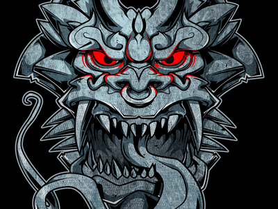 Stone face Gargoyle face monster stone gargoyle vector illustration