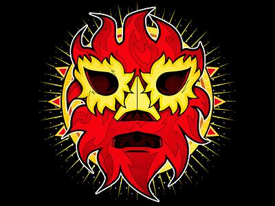 El solar shirt design wrestling mask vector illustration lucha