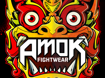 Amok indonesia bali vector illustration mask barong