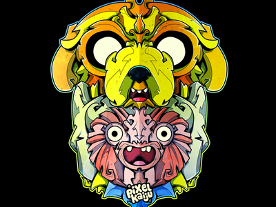 Adventure time Pixelkaiju style characters jake finn adventure time cartoon network vector illustration