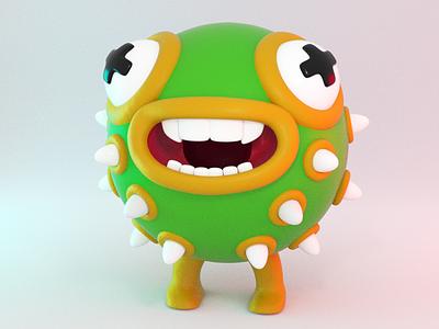 3D creature test porcupine cactus fish modelling 3d toy character design