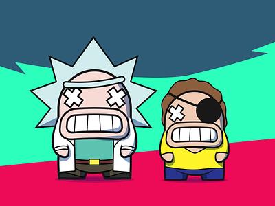 Rick & Morty // Pixelkaiju rick and morty characters illustration