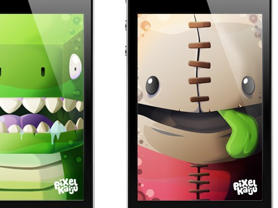 Free wallpapers pixelkaiju characters illustration wallpapers iphone