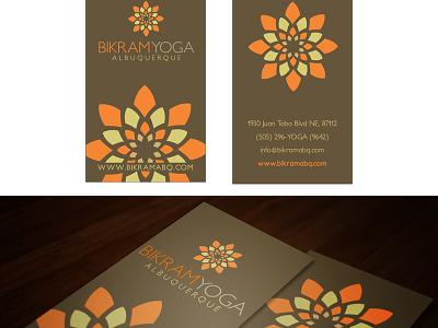 Business card Bikram yoga orange yoga logo bikram lotus mandala busines card yoga