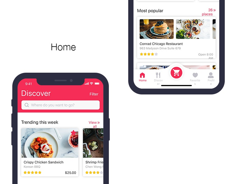 Food Home food delivery ios user interface