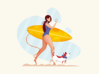 Summer surfing with a dog