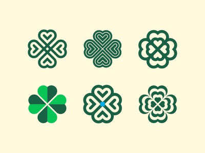 Four leaf clover guinness saint patricks ireland clover symbol simple heart logo identity geometric branding