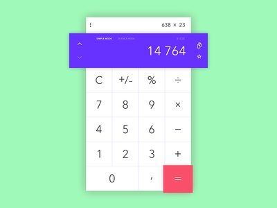 Calculator PSD #dailyui Day 004 free download psd calculator interface green concept clean blue design ux ui dailyui