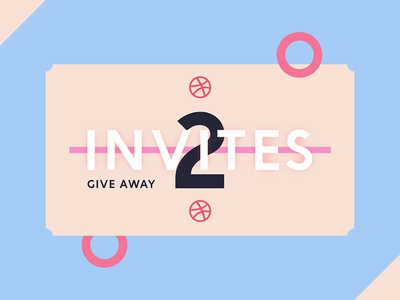 2x Invites For Dribbble ui ux clean inspiration minimal material giveaway circle graphic design dribbble invites