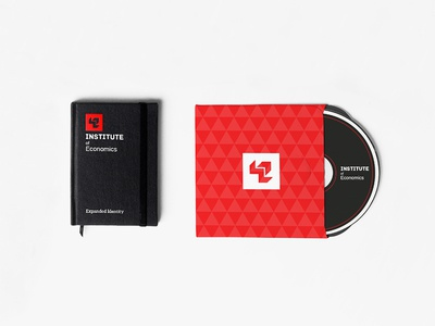 Institute Of Economics Indentity Design abstract geometric identity institute of economics red branding clean logo design identity