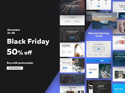 Black Friday Phoenix Startup 50% off black friday landing page responsive prototyping css html phoenix startup web-design ui kit ui