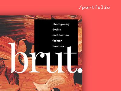 Brut — Animated Portfolio Theme 💎 theme wordpress transitions landing page inspiration ui portfolio for designers typography grid psd download sketch web design animation