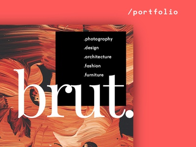 Brut — Animated Portfolio Theme 💎 theme wordpress transitions landing page inspiration ui portfolio for designers typography grid psd download sketch web design animation
