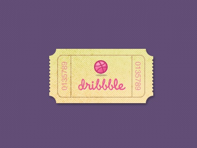 Dribbble ticket (PSD) dribbble invite design clean dribble ticket icon texture color