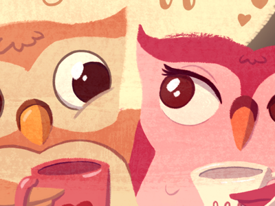 Owl Valentine valentine digital illustration owls