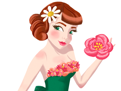 Happy Spring! illustration character pin-up