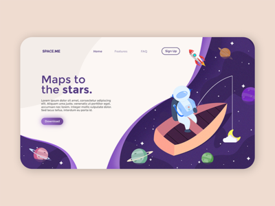 Spaceme - Landing page interaction app vector flat website ux ui illustration design