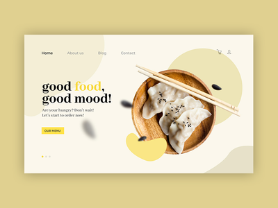 Foodzone - Landing page type interaction typography vector web design website ux ui illustration