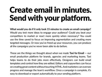 Create email in minutes - Taxi Print Ad