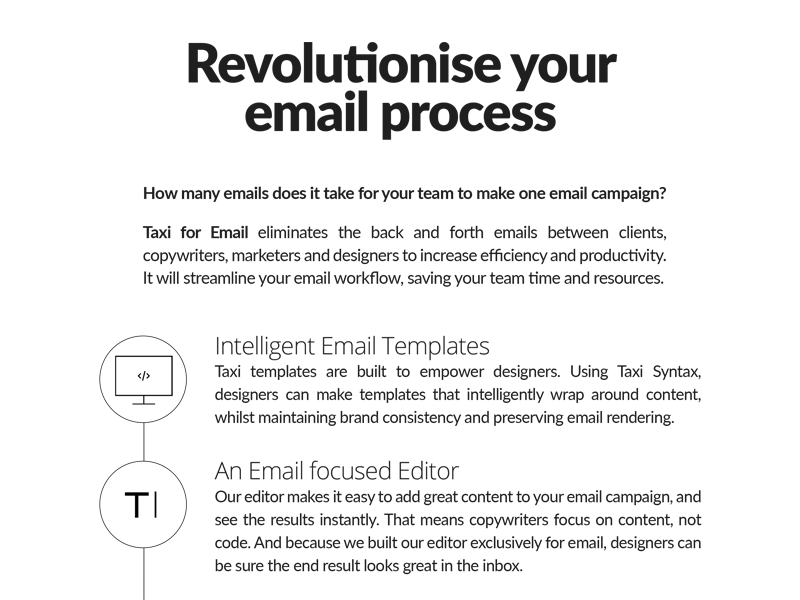 Revolutionise your email process - Taxi for Email Ad email development email emaildesign email design email marketing