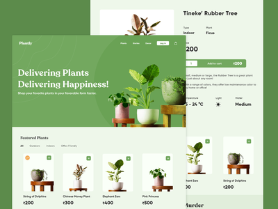 plantly - Delivering Happiness! website landing page web landing branding inspiration design ecommerce leaves logo add to cart detail page planting plant illustration ceramics green planter e-commerce leaves plant plants