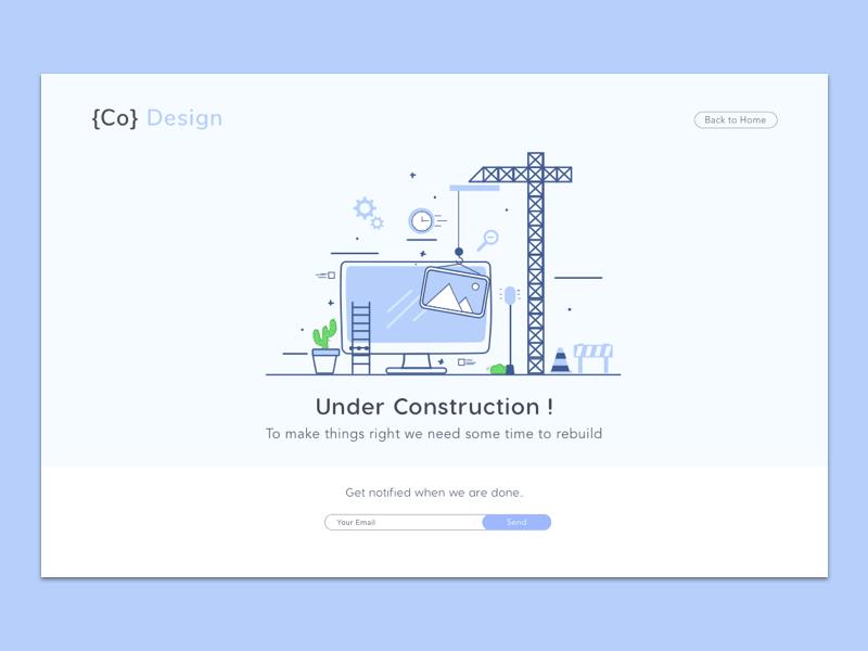 Dribble Shot - Page Under Construction webui ux design web ui daily