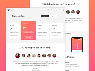 Subscription - Web Page Design daily freebies inspiration pricing website web booking testomonials cards ux pricing page pricings subscription design ui