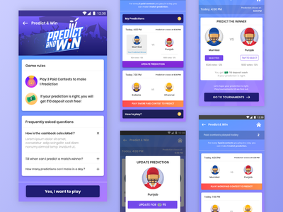 Predict & Win landing page hero section faq uidesign ui illustration daily web ux sports logo ipl inspiration freebies product sports cricket game ui game art prediction