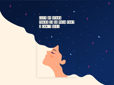 City Of Stars - Insta Story typography dream thinking woman universe story vector illustrator minimal design illustraion inspiration