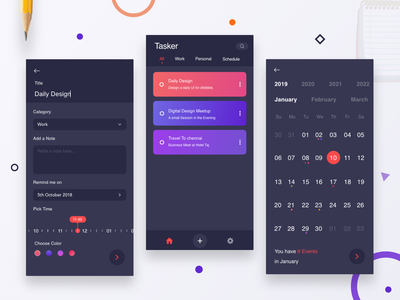Tasker - A Task Manager App category calendar 2019 daily minimal inspiration color selector cards date range time time picker date picker gradient dark calender task manager calendar ui calendar