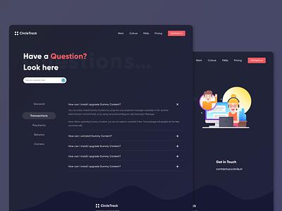 CircleTrack  - FAQ design inspiration contacts web questions contact contact us faq