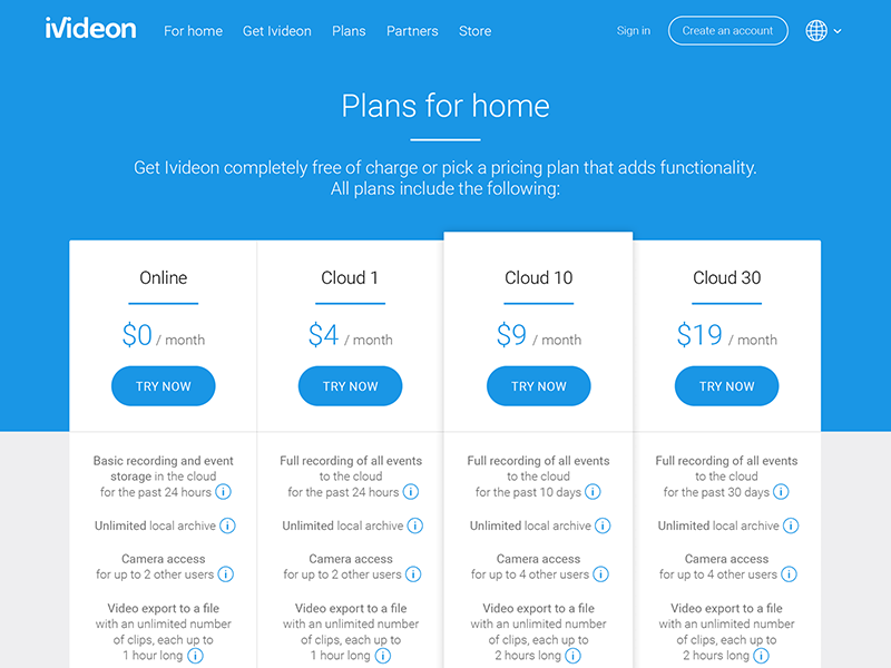 Ivideon Pricing Page by Maria Babak on Dribbble