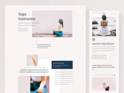Yoga Instructor - Sneak Peek colorful model clean ui elegantthemes uiuxparag yoga studio yoga logo yoga pose yoga app yoga layout illustration wordpress divi template typography landing page website ux ui