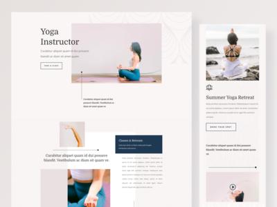Yoga Instructor - Sneak Peek colorful model clean ui elegantthemes uiuxparag yoga studio yoga logo yoga pose yoga app yoga layout illustration wordpress divi template typography landing page website ux ui