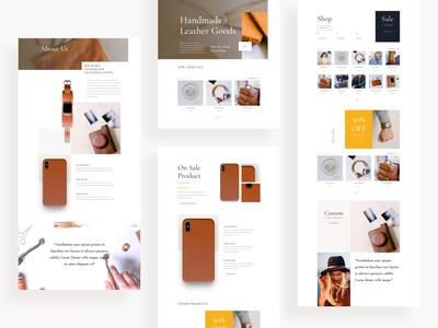Leather Company Template Design for Divi website design web design icon design layout typography minimal clean ux ui landing page template elegant themes divi wordpress website leather jacket leatherface leather leather goods leather company
