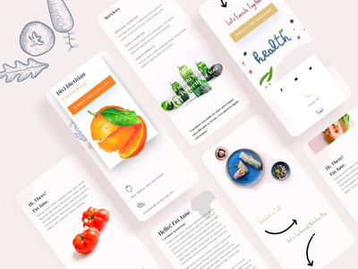 Dietitian - Mobile Pages product design template website ux ui typography illustration dietitian android ios mobile app design mobile app mobile ui responsive design mobile design