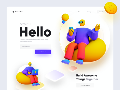 Hello Marshmallow product design ux ui minimal clean marshmallow gradient typography landing page website design 3d illustration welcome screen welcome page welcome shot debutshot team team work debut