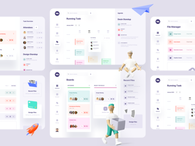 Task Management Dashboard profile boards card ui clean minimal ux ui schedule task management meeting app calendar 3d illustration dashboard analytics management system product design web application design schedule app file management file manager