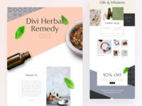 Herbal Remedy - Sneak Peek organic packaging product design web design website ux ui typography gradient leaf patern sneak peek template design layout design wordpress divi remedy herbal products herbal remedy herbal