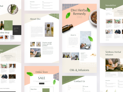 Herbal Remedy Template Design for Divi illustration mobile app design product design web design wordpress elegantthemes icon gradient clean minimal typography website ux ui layout pack template divi herbal products herbal remedy herbal