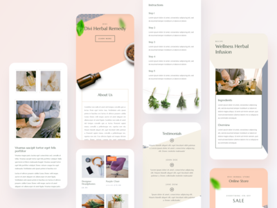 Herbal Remedy - Mobile Pages shopping app colors ios dribbble best shot illustraion gradient clean minimal typography elegantthemes divi herbal remedy herbal responsive design mobile app design mobile app mobile ui app ux ui