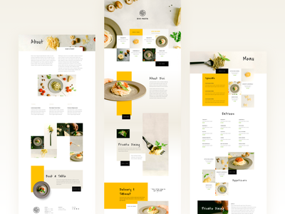 Italian Restaurant Template Design for Divi food app ui food app 2020 trend clean ui minimal typography website ux ui elegantthemes divi wordpress theme wordpress template design web design pasta italian italian food italian restaurant restaurant