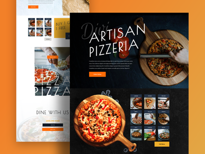 Pizzeria - Sneak Peek dark ui dark theme dark mode wordpress theme wordpress elegantthemes ishtiaq restaurants pizzeria pizza gradient divi clean minimal template landing page typography website ux ui