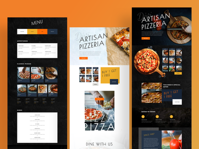 Pizzeria Template Design for Divi dark ui clean ui wordpress design wordpress theme website design webdesign restaurant pizza menu ishtiaq pizza illustration wordpress gradient divi template landing page typography website ux ui