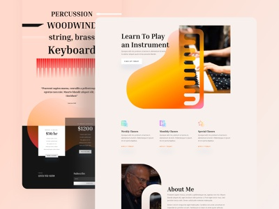 Music Teacher - Sneak Peek lesson teacher education music instrument piano music player music art music app musician music gradient divi clean minimal template landing page typography website ux ui