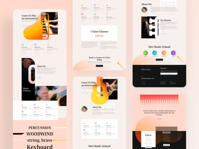 Music Teacher Template Design for Divi ux ui website typography landing page template minimal clean divi gradient music musician music app music art music player piano music instrument education teacher lesson