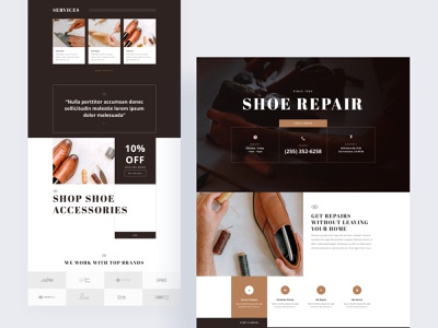 Shoe Repair - Sneak Peek dark theme dark app dark ui shopping shoe repair shoes shoes app shoes store shoe design shoe gradient divi clean minimal template landing page typography website ux ui